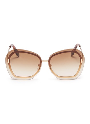 Main View - Click To Enlarge - VICTORIA BECKHAM - 'Floating Butterfly' oversized angular metal sunglasses