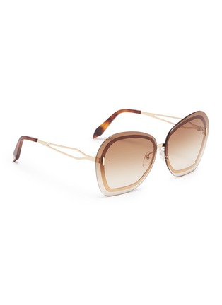 Figure View - Click To Enlarge - VICTORIA BECKHAM - 'Floating Butterfly' oversized angular metal sunglasses
