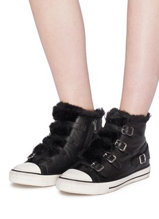 Ash 'Valko' faux fur buckled leather high top sneakers