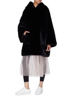 Xiao Li Faux fur oversized hoodie