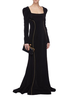 Rebecca Vallance 'Ivy' contrast topstitching cutout back gown
