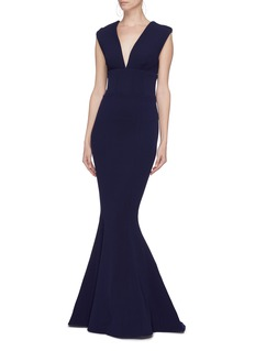 Rebecca Vallance 'Mimosa' cutout back V-neck fishtail gown