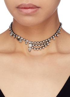 Joomi Lim Glass crystal faux pearl stud choker
