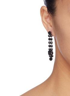 Joomi Lim Glass crystal mismatched drop earrings