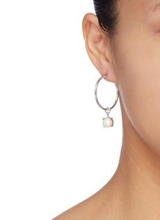 Joomi Lim Glass crystal faux pearl charm mismatched hoop earrings