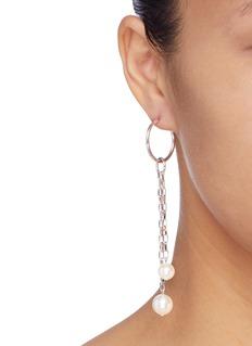 Joomi Lim Mini hoop mismatched detachable chain drop earrings
