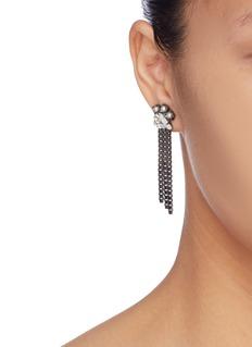 Joomi Lim Faux pearl glass crystal mismatched fringe drop earrings
