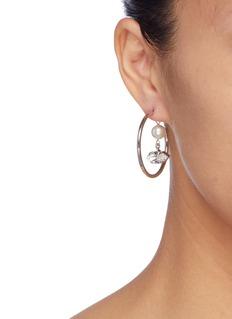 Joomi Lim Faux pearl glass crystal charm hoop earrings