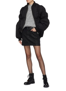 Jinnnn Puff sleeve ruched down bomber jacket