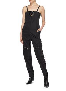 Jinnnn Buckled yoke knee pocket lace-up outseam jumpsuit