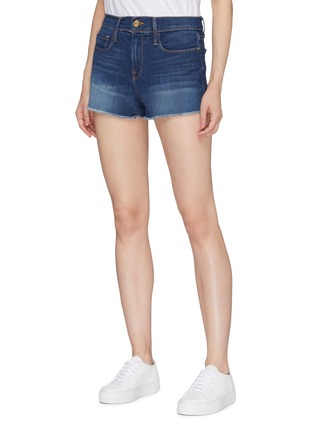 Front View - Click To Enlarge - FRAME DENIM - 'Le Cut Off Williams' raw edge cuff denim shorts