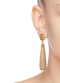 Kenneth Jay Lane Woode teardrop drop earrings