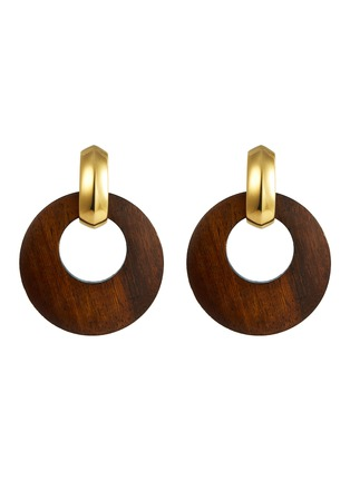 Main View - Click To Enlarge - KENNETH JAY LANE - Wood disc drop clip earrings