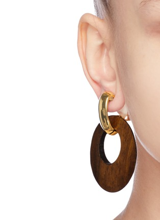 Figure View - Click To Enlarge - KENNETH JAY LANE - Wood disc drop clip earrings
