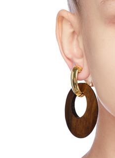 Kenneth Jay Lane Wood disc drop clip earrings