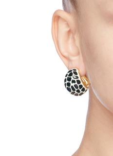 Kenneth Jay Lane Giraffe print enamel clip earrings