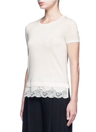 Front View - Click To Enlarge - THEORY - 'Lilany' lace hem short sleeve wool sweater