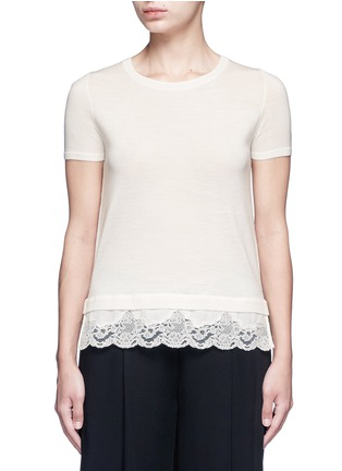 Main View - Click To Enlarge - THEORY - 'Lilany' lace hem short sleeve wool sweater