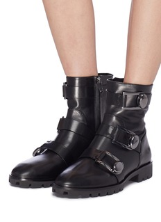Stella Luna Buckled strap leather ankle boots