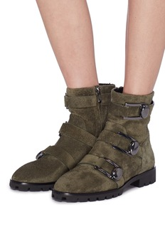 Stella Luna Buckled strap suede ankle boots