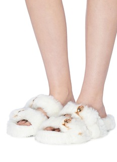 Stella Luna Turnlock buckle faux fur slide sandals