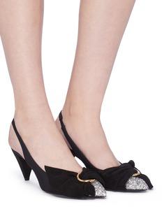 Stella Luna Cone heel glitter toe half bow slingback pumps