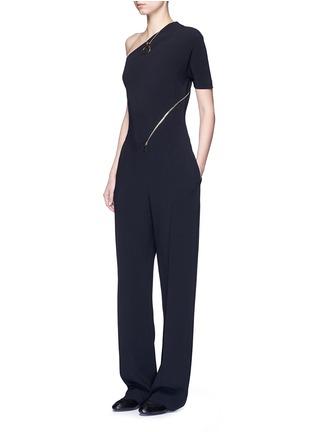 Figure View - Click To Enlarge - Stella McCartney - 'Elisa' one shoulder zip front crepe jumpsuit