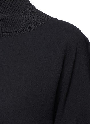 Detail View - Click To Enlarge - Vince - Ribbed turtleneck crepe top