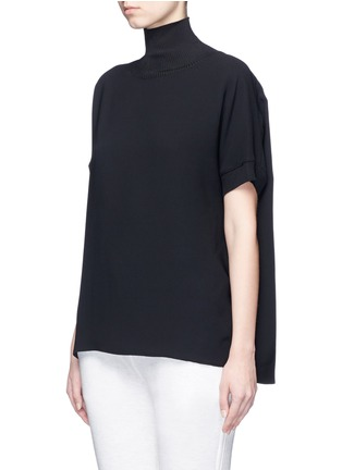 Front View - Click To Enlarge - Vince - Ribbed turtleneck crepe top