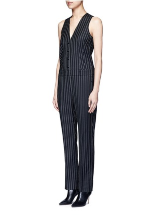 Front View - Click To Enlarge - Givenchy - Pinstripe wool jumpsuit