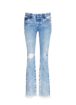 Main View - Click To Enlarge - Tortoise Denim - Distressed washed slim bootcut jeans