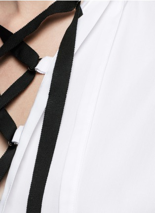 Detail View - Click To Enlarge - Tome - Open back cotton piqué lace-up peasant top