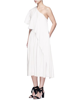 Figure View - Click To Enlarge - Tome - Ruffle silk poplin one-shoulder dress