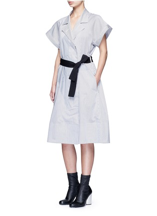 Figure View - Click To Enlarge - Tome - Satin stripe belted coat dress