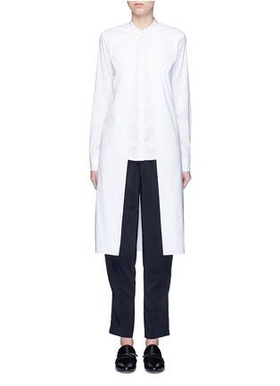 Main View - Click To Enlarge - ROSETTA GETTY - Split front cotton blend poplin long shirt