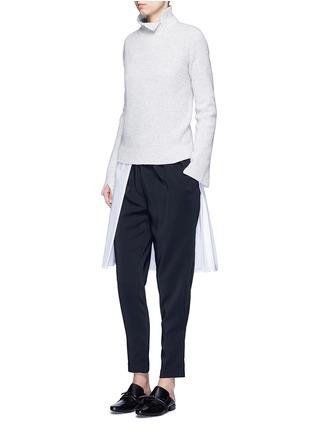 Figure View - Click To Enlarge - ROSETTA GETTY - Split front cotton blend poplin long shirt
