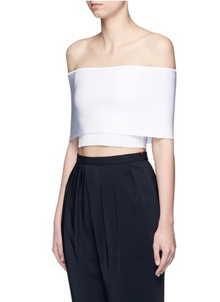 Front View - Click To Enlarge - Rosetta Getty - Rib knit off-shoulder cropped top
