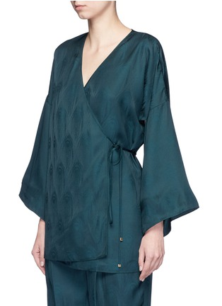 Front View - Click To Enlarge - ROSETTA GETTY - Cutout sleeve kimono wrap top