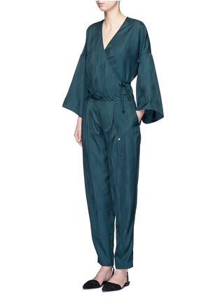 Figure View - Click To Enlarge - Rosetta Getty - Peacock jacquard pleat front pants