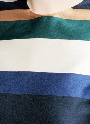 Detail View - Click To Enlarge - ROSETTA GETTY - Stripe silk blend satin cropped T-shirt