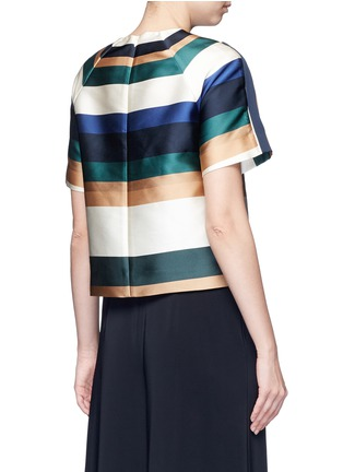 Back View - Click To Enlarge - ROSETTA GETTY - Stripe silk blend satin cropped T-shirt