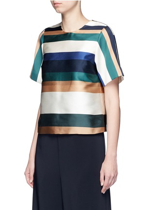 Front View - Click To Enlarge - ROSETTA GETTY - Stripe silk blend satin cropped T-shirt