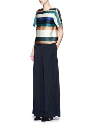 Figure View - Click To Enlarge - ROSETTA GETTY - Stripe silk blend satin cropped T-shirt