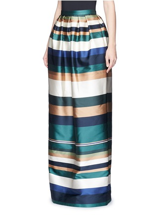 Front View - Click To Enlarge - ROSETTA GETTY - Stripe silk blend satin maxi skirt