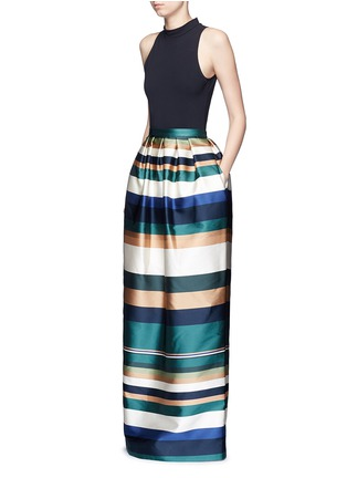 Figure View - Click To Enlarge - ROSETTA GETTY - Stripe silk blend satin maxi skirt