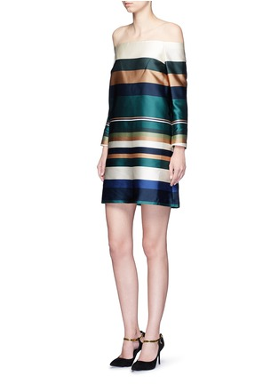 Figure View - Click To Enlarge - Rosetta Getty - Off-shoulder stripe silk blend satin dress