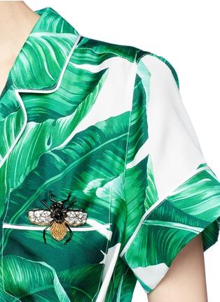 Detail View - Click To Enlarge - - - Embellished banana leaf print belted silk pyjama top