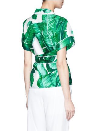 Back View - Click To Enlarge - - - Embellished banana leaf print belted silk pyjama top