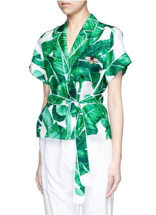 Front View - Click To Enlarge - - - Embellished banana leaf print belted silk pyjama top
