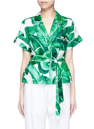 Main View - Click To Enlarge - Dolce & Gabbana - Embellished banana leaf print belted silk pyjama top